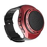 Q&N Tragbare tragbare Sport Bluetooth-Lautsprecher Uhr mit MP3-Player FM-Radio Selfie Anti-Lost Ultra Lange Standby-Zeit zum Laufen Wandern Klettern,Rot