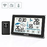 BACKTURE Wetterstation, Digitale Funk Thermometer-Hygrometer mit Außensensor Wettervorhersage Innen- und Außen temperatur/Wecker/Feuchte/Barometer/Uhr