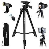 Endurax Kamera Stativ 153cm Erweiterbarer Handy Stativ aus Aluminium Tragfähigkeit 3KG Dreibeinstativ mit 3 Wege-Schwenkkopf mit Handyhalterung,Bluetooth...