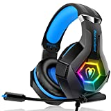 Gaming Headset für PC PS4 Xbox One, 7 Farbe RGB-LED Licht, Surround Sound Gaming Kopfhörer mit Mikrofon für Laptop Mac Handy Tablet
