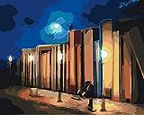 WYTCY Malen Nach Zahlen - Buchwand. Leinen Leinwand Ölgemälde, Moderne Kunst Malerei, DIY Malerei Kit, Geeignet Für Erwachsene Und Anfänger40*50CM