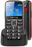 Seniorenhandy ohne Vertrag mit großen Tasten 2,3 Zoll,Ukuu GSM Tastenhandy Dual SIM Handy SOS Notruftaste Ladestation und Kamera Mobiltelefon 1000 mAh Akku...