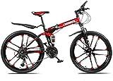 DHINGM Mountainbike Falträder 26inch 27-Gang-Doppelscheibenbremse Fully Anti-Rutsch-leichte Alurahmen Federgabeln geeignet for Outdoor-Picknick-Fahrten