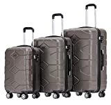 BEIBYE - TSA Schloß 2035 Hartschale Reisekoffer Koffer Handgepäck Trolley (Coffee, Set)