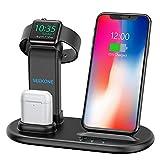 SEEKONE Kabellose Ladegeräte 3 in 1 Kabellose Ladestation für AirPods 1/2 und Uhren, Qi Kabellos Ladegerät für iPhone 11/X/XS/XS/XR/8/8 Plus Samsung Galaxy S10/S9 alle Qi fähigen Telefone