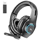 REDSTORM Wireless PC Headset, Kabellos Gaming Headset, Noise Cancelling Mikrofon mit Mic-Knopf, Stereo-Surround Sound, RGB Licht, Gaming Kopfhörer für PC,...