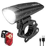 Deilin LED Fahrradlicht Set, 2 Licht-Modi Fahrradlampe Zugelassen Fahrradbeleuchtung, USB Aufladbar Fahrradlicht Vorne Rücklicht Set, IPX5 Wasserdicht Fahrrad...