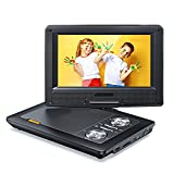 Tragbarer DVD Player für Auto, 9,5 Zoll Schwenkbarer Bildschirm, 5 Stunden Akku, Mobiler DVD Player, Unterstützt SD/USB/AV/Games Joystick/CD/Kopfhörer, Sync...