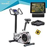 skandika Ergometer Morpheus, Fitnessbike, Heimtrainer mit Steuerung und Street View Funktion, Pulsgurt, 32 einstellbare Widerstandseinstellung und...