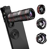 AFAITH HD Handy Kamera Lens Kit, 5 in 1 Telefon Kamera objektiv Kit - 12xTelephotoobjektiv + 180° Fischaugenobjektiv + 0.36X Weitwinkel + 15X Makroobjektiv...