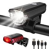 ITSHINY Fahrradlicht - Fahrradlicht USB Aufladbar, StVZO Zulassung Fahrradlampe Aus Aluminium LED, Fahrradbeleuchtung Set Wasserdicht 2 Licht-Modi Frontlicht...