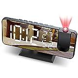 JIGA Wecker Digital Projektionswecker mit FM-Radio 7' LED Spiegelbildschirm Snooze Dual Alarm mit USB Anschluss 4 Helligkeiten Ultraklarer Raidowecker Digitaler...