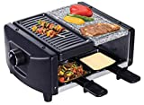 SAVOIE RG83 2in1 Raclette-Grill/Steingrill für 4 Personen, Partygrill mit Natursteinplatte, zum Grillen und Überbacken (Fleisch, Fisch, Gemüse), Grill...