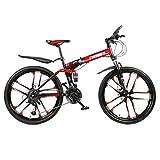 JXXU Klappbare 26-Zoll-Mountainbikes Für Herren, Hardtail-Mountainbike Aus Kohlenstoffhaltigem Stahl, Mountainbike Mit Verstellbarer Vorderradfederung,...