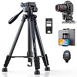 KINGJOY Kamera Stativ 152 cm Aluminium Lightweight Stativ Tragfähigkeit 5KG für Canon Nikon DSLR Smartphone Tablet mit Bluetooth Fernbedienung Handyhalter und...