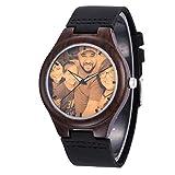 Personalisierte hölzerne Uhr mit Foto oder Nachricht Double-Side Gravur für Männer Frauen Weihnachten Geburtstag Vatertagsgeschenk