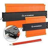 JACKMEND 2-in-1 Konturenlehre - 5 & 10-Zoll, mit Metallschloss - Vervielfältigungslehre, Messwerkzeug für Ecke, Boden, Kante & Winkel - Rücken aus...