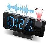 JIGA Projektionswecker Wecker Digital mit Projektion Radiowecker Dual-Alarm mit USB Anschluss , 7' LED-Anzeige, 4 Helligkeit Dimmbar, Temperatur und...
