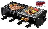 SAVOIE RG83N 2in1 Raclette-Grill/Steingrill für 8 Personen, Partygrill mit Natursteinplatte, zum Grillen und Überbacken (Fleisch, Fisch, Gemüse), Grill...