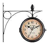 oofay Retro Doppelseitige Wanduhr Outdoor Garten Uhr mit wasserdichter Abdeckung geeignet für Innen Außen Zaun