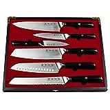 Küchenmesser japanisches Profi Messer Koch Geschenk in Holzschachtel, limited Edition (Küchenmesser 6er Set)