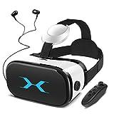 YEMENREN 3D VR Brille, VR Headset mit Bluetooth Controller und Kopfhörer, 120° FOV, HD Virtual Reality, Anti Blu-ray-Linse - für 3D Film und Spiele, Geeignet...