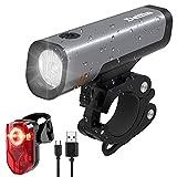 Deilin Fahrradlicht Set, LED Fahrradbeleuchtung 70 Lux USB Wiederaufladbare, Fahrradlichter Set 16h Leuchtdauer umschaltbar 2600mAh Akku, Fahrradlampe IPX5...
