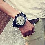 GKXAZ Unisex Damen Herren Armbanduhr Sportuhr Outdoor Fashion-Quarz-Uhr Große rundes Zifferblatt Armbanduhr (Color : White)