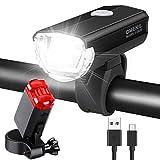 OMERIL LED Fahrradlicht Set Fahrradbeleuchtung STVZO Zugelassen Fahrradlampe Aluminium USB Aufladbar und Wasserdicht Fahrrad Licht mit Vorne und Rücklicht....