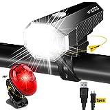 Fahrrad Licht Led Set StVZO Fahrradlicht Led Set USB,Fahrradlict Vorne Led USB Farradbeleuchtung Aufladbar Wasserdicht Fahrradlampe Mit Akku Frontlicht Und...