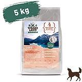 Wildes Land | Halbfeuchtes Trockenfutter für Hunde | Nr. 4 Truthahn & Lachs | 5 kg | mit Reis und Wildkräutern | Glutenfrei | Extra viel Fleisch | Soft Beste...