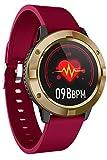 Smartwatch Uhr mit Blutdruckmessung Damen Herren Pulsuhr Touchscreen Schlaf Fitness Armband Wasserdicht Wetter