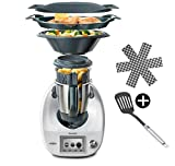 Vorwerk Thermomix TM6 Küchenmaschine mit Kochfunktion, Multifunktional, inkl. JUNG Pfannenwender & Pfannenschoner Cookidoo® Zubehör Kochbuch WLAN TM 6