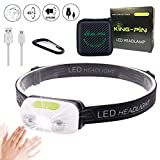 King-Pin stirn1 Kopflampe USB Wiederaufladbare Wasserdicht Leichtgewichts Mini 7 Leuchtmodi Perfekt fürs Laufen Jogging Campen Radfahren (LED Stirnlampe Sensor...