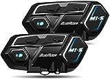 Bluerider Motorrad Intercom Helm Headset Gegensprechanlage Bluetooth 4,1 bis zu 8 Reiters, Kommunikationssystem für Motorräder, Wasserdicht Vollduplex, 10 Std...