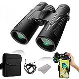 Fernglas 12x42, Voperk Großes Sichtfeld HD Wasserdicht Binoculars, Hochleistungs Fernglas für Erwachseneund Smartphone-Adapter, 16,5 mm-Prisma...