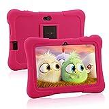 Pritom 7 Zoll Kinder Tablet, Quad Core Android 10 Tablet, 16 GB ROM, Bluetooth, WLAN, Doppelkamera, Kindersicherung(Rosa)
