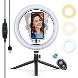 Yoozon Selfie Ringleuchte Stativ mit Fernbedienung,Tischringlicht mit 3 Farbe und 10 Helligkeitsstufen, Live Licht für schöne Fotos oder Videosschooting, live...