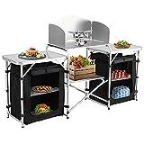 Spaire Klappbare Campingküche mit Ablagefach, mit Windschutz Reiseküche | Outdoorküche Kochtisch | Leicht zu reinigen, verwendbar für Grill, Party, Picknick...