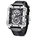 BERSIGAR Rechteckige Uhren für Herren Analoge Quarzmode Luxussport Herren Wasserdichtes Chronograph Silikonarmband