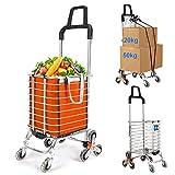 Acyon Einkaufstrolley 8 Räder Treppensteiger Einkaufswagen Einkaufs Trolley Treppensteig mit drehbaren Rollen und Abnehmbarer wasserdichter Tasche aus...