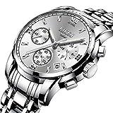TWCAM Lederarmband männer Edelstahl Armband- Herrenuhr Automatik Mechanische Uhr Herrenuhr Stahl Wasserdicht, Silber Weiß