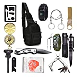 2021 Survival Kit 15in1 Erste-Hilfe-Kit taktischer Rucksack Messer Paracord-Uhr Säge taktischer Stift Taktische Taschenlampe Kompass Wärmedecke und anderes...