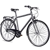 CHRISSON 28 Zoll Citybike Herren - City One anthrazit matt 56 cm - Herrenfahrrad mit 7 Gang Shimano Nexus Nabenschaltung - praktisches Cityfahrrad für Männer