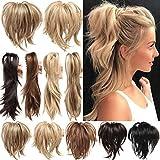 Clip in Extensions Pferdeschwanz Haarverlängerung mit Jaw Claw Ponytail Amzing Form Anpassen Hochsteckfrisur Haarteil für Frauen Ombre 30cm Dunkelbraun