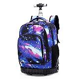 Cozyhoma Rolling Rucksack Multifunktions Rolling Schule Buch Pack Reise Trolley Gepäck Tasche für Schule Studenten Bücher und Erwachsene Reisen Sternenhimmel...