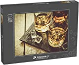 Puzzle 1000 Teile Whiskey mit EIS im Glas, rustikaler Holzhintergrund, Kopierraum - Klassische Puzzle, 1000/200/2000 Teile, in edler Motiv-Schachtel,...