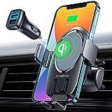 VANMASS 15W Fast Wireless Charger Auto Handyhalterung mit Ladefunktion 2IN1 Handyhalter Fürs Auto Induktion Upgrade mit 2 Lüftungsclip Motor Betrieb Auto...