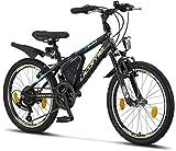 Licorne Bike Guide Premium Mountainbike in 20 Zoll - Fahrrad für Mädchen, Jungen, Herren und Damen - 18 Gang-Schaltung - Schwarz/Blau/Lime