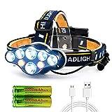 AnCoSoo Stirnlampe, USB Stirnlampe superheller 18000 Lumen 8 LED 8 Modi mit Rotem Warnlicht, Stirnlampe Wiederaufladbare Wasserdicht, Kopfleuchte für Camping,...